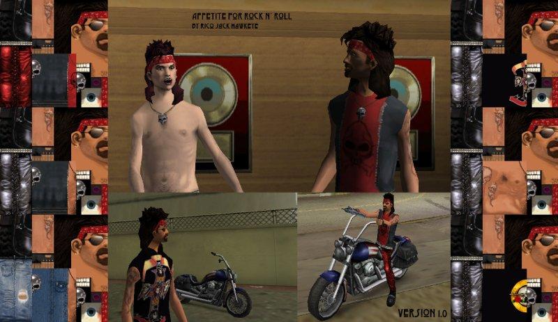 Mód Appetite for Rock n Roll mění všechny skiny hráče, včetně modelů pro cutscény, za dohrání příběhu a za 100% dokončení hry dostanete skny s tričkami starých Guns n Roses.