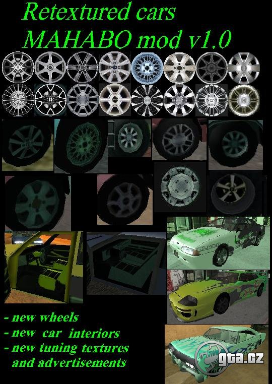 This mod replaces 160 textures of cars interiors, exteriors and other parts
