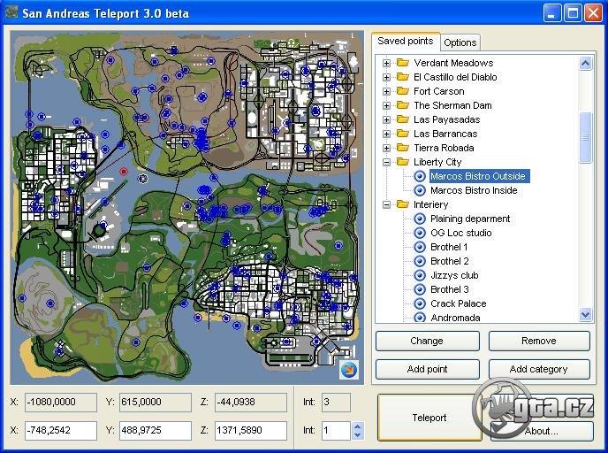 Skvělý teleporter vám umožní teleportovat se na příslušné místo vybrané v mapě. Také obsahuje uložené souřadnice pro teleport na zajímavá místa v SA a souřadnice pro interiéry jako např. Liberty City, Koblihárna, Sweetův Dům atd.