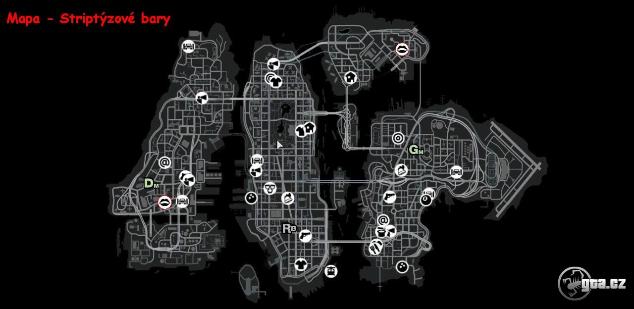 GTA 4 ATM Map http://www.gta.cz/eng/gta4/article/strip-clubs