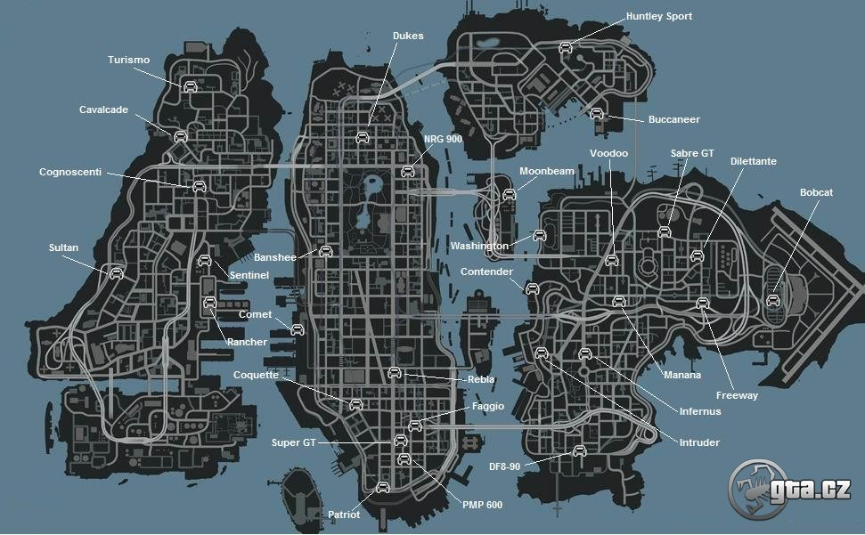 gta iv map. Using this map, you can find