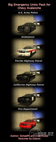 Military Police, Ambulance, Florida Highway Police, California Highway Police, Fire brigade