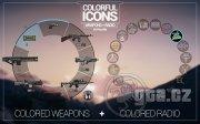Hned několik verzí barevných ikon pro výběr zbraní a rádií.