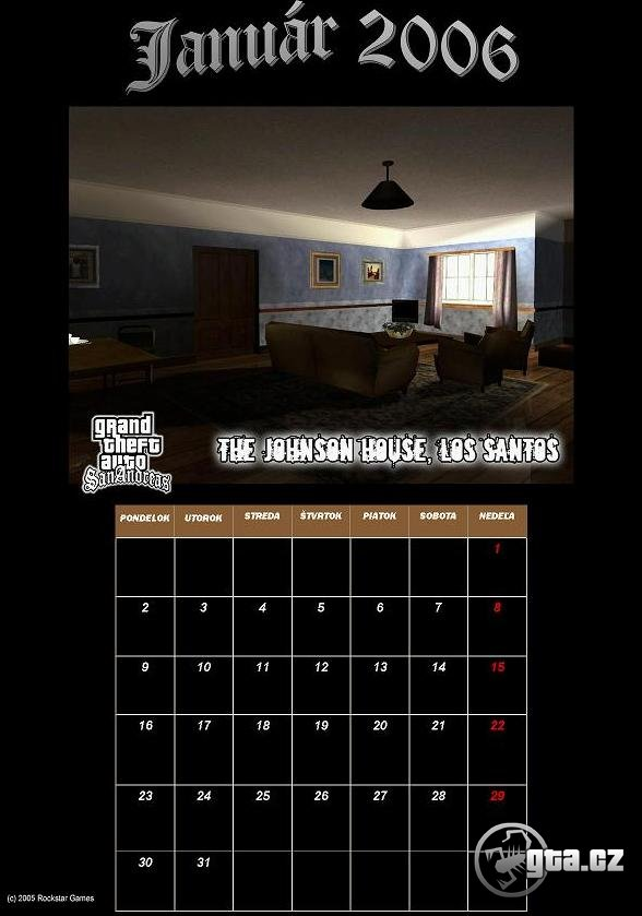 A calendar with the motive of GTA SA for 2006 in czech