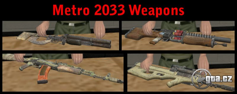 Pack containing a total of 18 weapons from a famous game Metro 2033